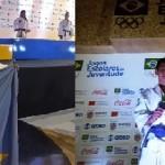 Diego Borges medalha de prata e seu técncio Alessandro, Lorraine e Gian do Judô Moura com suas medalhas de prata